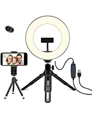 LEDリングライト - OhaYoo 外徑8in USBライト 3色モード付き 撮影照明用ライト 卓上ライト Bluetoothリモコン 高輝度LED スマホスタンド付き 10段階調光 美容化粧/YouTube生放送/ビデオカメラ撮影用