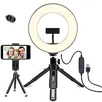 LED环形灯 - OhaYoo 外径8in USB灯 带3色模式 摄影照明灯 桌面灯 蓝牙遥控器 高亮度LED 附带智能手机支架 10级调光 美容化妆/YouTube生播放/视频摄影用
