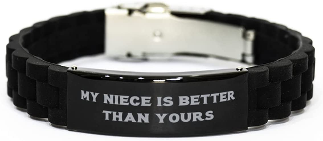 My Niece is Better Than Yours Black Glidelock Clasp Bracelet, Niece Present from Aunt, Cheap Engraved Bracelet for Niece