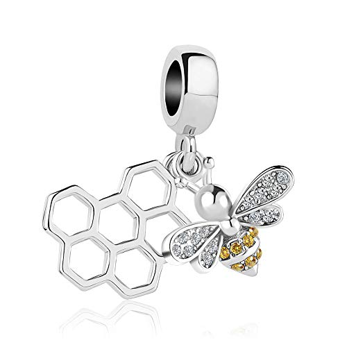 Lifequeen Cute Bee Honeycomb Charm Dangle Charms Beads for Bracelets