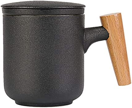 Tea Cup with Infuser and Lid Tea Infuser Mug with Wooden Handle for Loose Leaf Tea Brewing 12oz product image