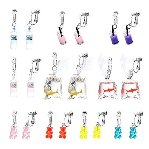 10 pares de pendientes de clip para adolescentes y mujeres, con diseño de corte, de estilo bizarra, Funny Dangle