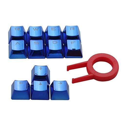 12 PBT Keycap Doble inyección de inyección de fondo Blue metal color Keycaps para juegos teclado mecánico con llave extractor