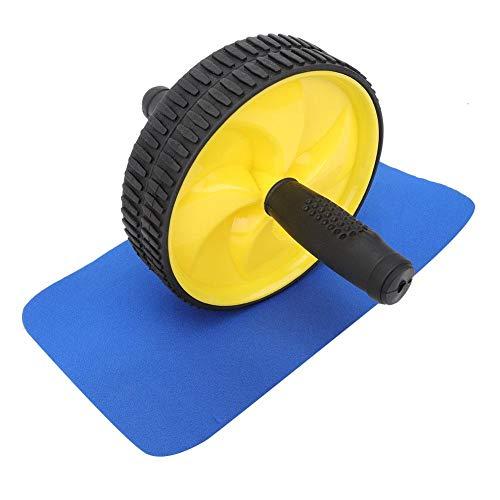VGEBY Rueda Abdominal, ejercitador Abdominal Máquina de Entrenamiento Muscular Rodillo Adelgazante de Cintura con Esterilla para la Rodilla para Deportes de Gimnasio en casa(Amarillo)