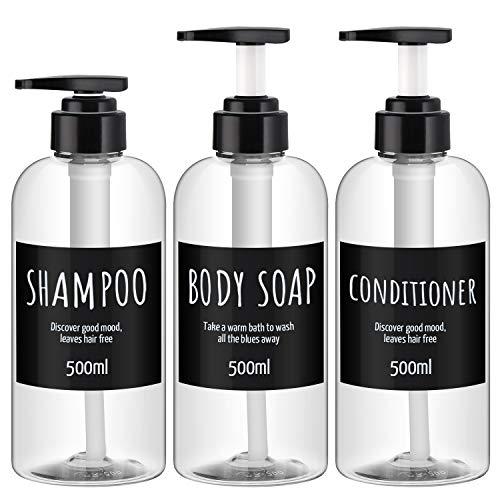 3 Stück Spenderflaschen für Badezimmer, Segbeauty 500ml Nachfüllpumpenflaschen für flüssige Körperseife Shampoo Conditioner Duschgel Hotel Kunst