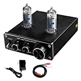 FX AUDIO Vacuum Tube Preamp—Mini Electronic Hi-Fi Stereo 6K4 Tube Preamplifier with Bass & Treble Control for Home Audio Player DC 12V (Black)