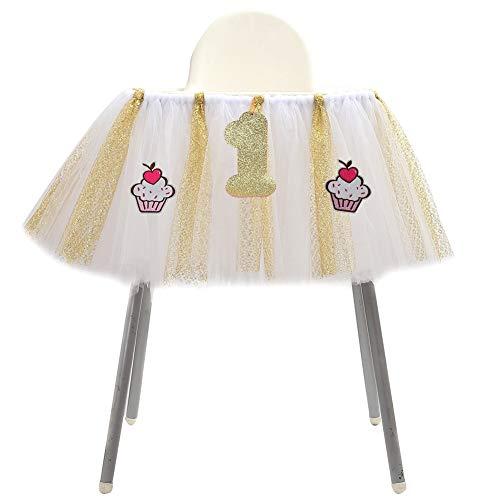 Savlot 1e verjaardag baby party verjaardag eetstoel Rock Tutu stoelhoezen voor jongens meisjes hoge stoel decoraties 90 x 35 cm