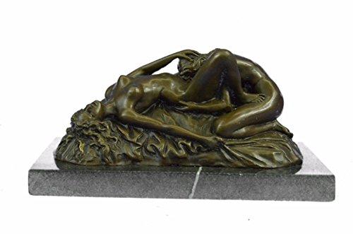 Handmade European Bronze Sculpture Signed Lambeaux Two Lesbian Girl Hot Cast Marble Figurine Bronze Statue -1X-EPA-113-Decor Collectible Gift