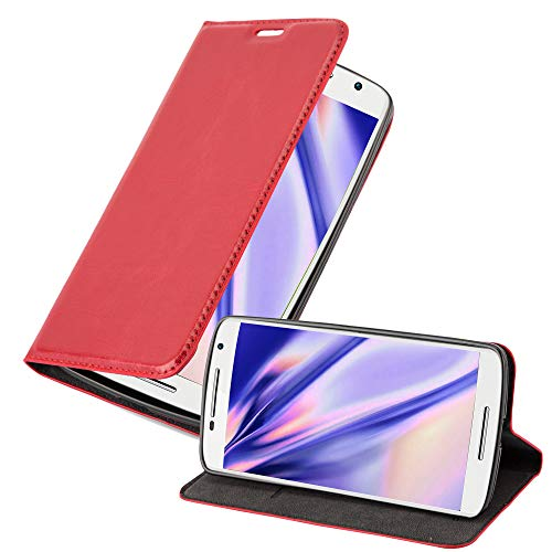 Cadorabo Hülle für Motorola Moto X Play in Apfel ROT - Handyhülle mit Magnetverschluss, Standfunktion & Kartenfach - Hülle Cover Schutzhülle Etui Tasche Book Klapp Style