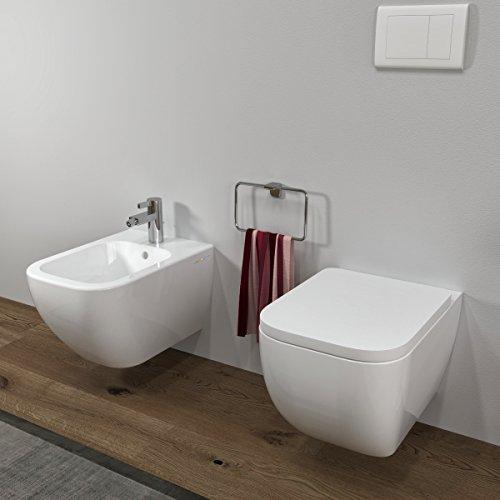 MarinelliGroup - Sanitari bagno Bidet e Vaso WC SOSPESI Legend filo muro con coprivaso softclose