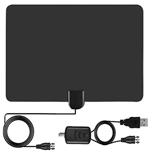 [Latest 2020] Amplified HD Digital TV Antenna Long 120 Miles Range - Support 4K 1080p Fire tv Stick and All Older TV's Indoor Powerful HDTV Amplifier Signal Booster - 16.5ft Coax Cable/AC Adapter