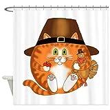 Fvfbd 3D Gedruckter Duschvorhang 150x180CM CafePress Bauble Cat Thanksgiving Duschvorhang