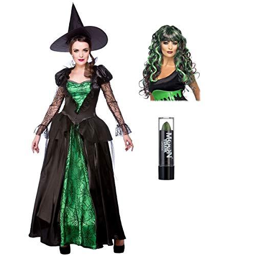 Adult Ladies Deluxe Emerald Witch Halloween Fancy Dress Costume + Black & Green Wig + Green Lipstick S (UK: 10-12)
