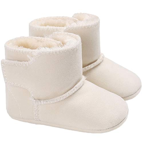 Yicornchen Baby Boys Girls Winter Snow Boots Warm Shoes Booties Newborn Infant Soft Sole Faux-Fur Lined Baby Crib Shoes(0-6 Months,White)