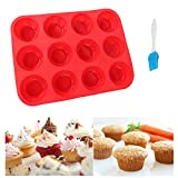 rosepartyh Muffin Tray Teglia Muffin Teglie da Muffin Stampo per Muffin 12 Cup Muffin Trays Antiaderente Senza Bpa