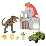 Terra by Battat - T-Rex Big Playset Electronic Tyrannosaurus Rex Dinosaur Lava Mountain Set with 2 Surprise Dinosaur Toys for Kids Age 3+ (14 Pc)