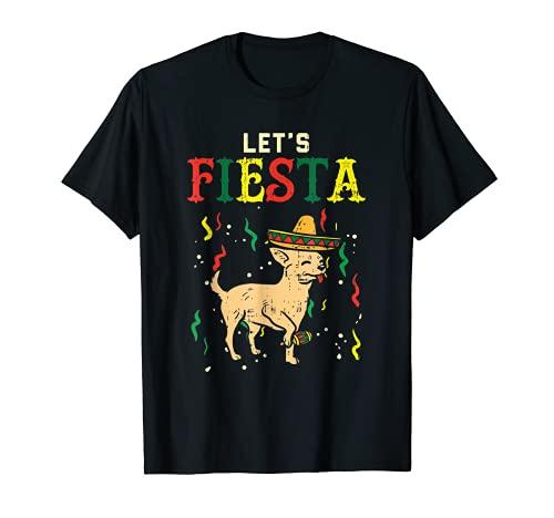 Lets Fiesta Messicano Chihuahua Cane Cinco De Mayo Pet Dog Maglietta
