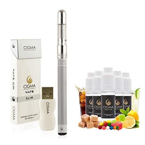 Cigma Vape Slim White - Silber E-Zigaretten-Starter-Kit - Weltweit kleinste Nachfüllbare wiederaufladbare E-Zigarette Vape Pen - Gratis Flavour Mix Pack E-Liquids enthalten