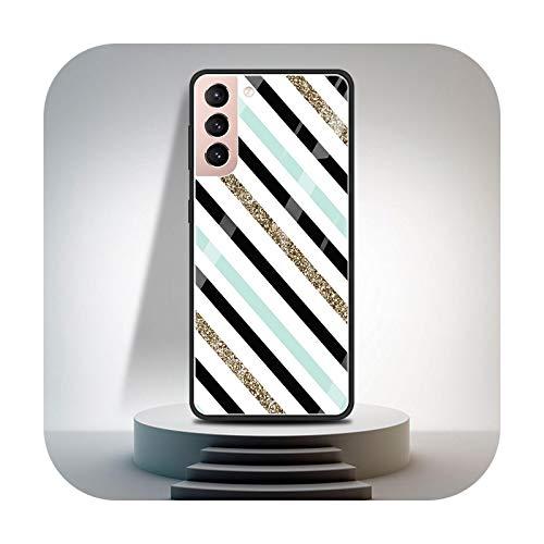 Cubierta de vidrio templado para Samsung Galaxy S20 FE S21 Ultra S10 Plus S9 S8 teléfono caso Nota 10 Lite 20 Shell moda líneas patrones-T02-para Samsung S9