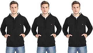 Quco Men's Cotton Fleece Hood Sweat Shirt Combo Pack of 3- (Black)
