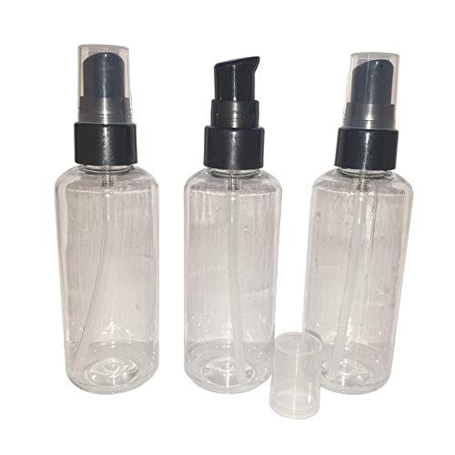 3 botellas vacías de plástico transparente de 100 ml con bomba negra (jabón líquido/dispensador de gel de manos/tamaño de viaje)