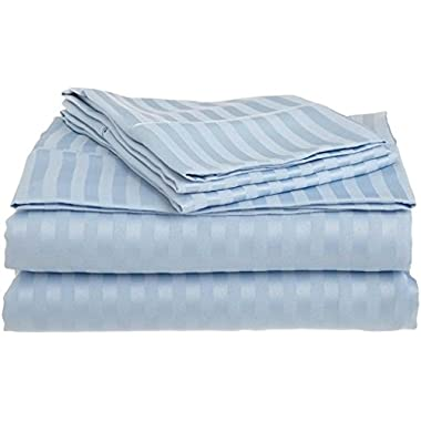 True Linen offers- Elegant 6PC Sheet set with 19  Deep pocket made by 400TC 100% Egyptian cotton (1 Fitted sheet, 1 Flat sheet and 4 pillowcases) easy to use King, LIght Blue Stripe