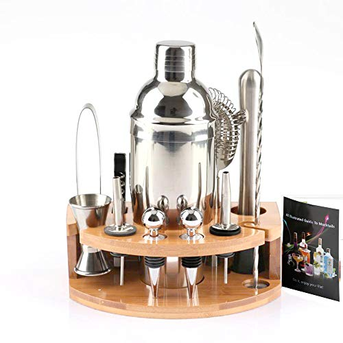 ADTZYLD Cocktail Shaker Set Bartender Kit,Bar Set with Bamboo Stand 12 Piece Bartending Tools 25 oz Professional Stainless Steel Martini Shaker with Mocktail Recipes Booklet