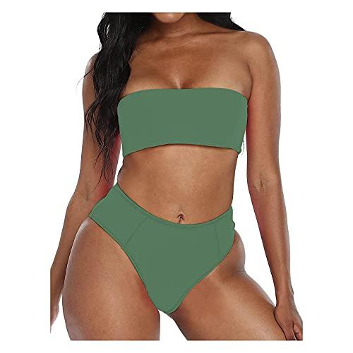 YAOBF FließEnde Tankini für Frauen V Bikiniunterteil Bikini Damen GrüNe Sexy BadeanzüGe für Frauen ASOS Bikini (Grün,M)