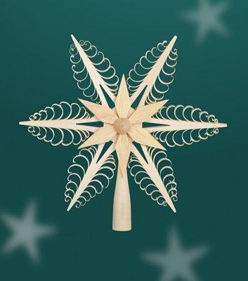 Christbaumspitze - Weihnachtsbaumspitze – Baum – Holz – Spitze – Baumspitze – Weihnachten – 24cm - Erzgebirge NEU