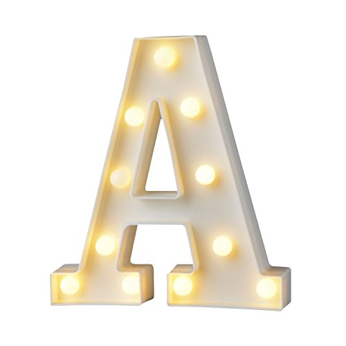 SUNEVEN Led Letters Night Lights, 3D Alphabet A-Z Marquee Decoration Words Lamps Lighting Indoor Wall Hanging Decor for Baby Room Birthday Wedding Party Light Signs (A)