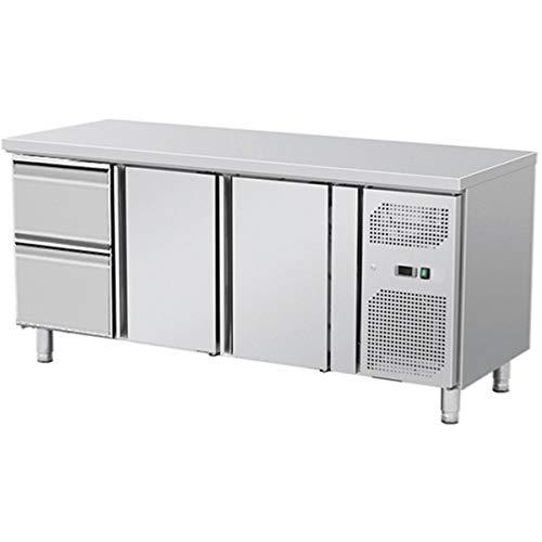 ZORRO - Kühltisch mit Füßen ZGN 3110-2 Türen - 2 Schubladen - Gastro Zubereitungstisch mit Arbeitsfläche - R600A - Digitales Thermostat - Umluftkühlung