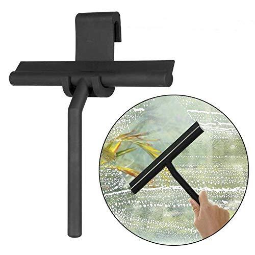 AOLVO Limpiador de limpiacristales para mampara de ducha y ventana, de 8 pulgadas, resistente, con hoja de silicona y ganchos a juego, espátulas de metal profesional para espejo de baño, color negro