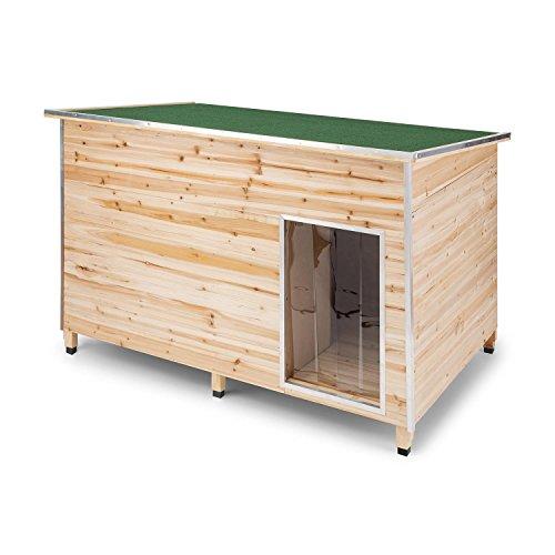 Oneconcept Schloss 90 Edition Tamaño L - Casa de Mascotas para Patio, Caseta para Perro, Resistente a la Intemperie, Madera con Aislante, Medidas 90 x120 x 90 cm, Madera de Pino