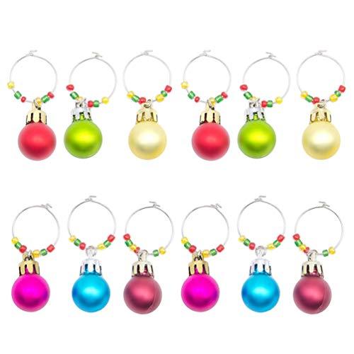 UPKOCH 12 Pezzi Segnabicchieri Natale Charms di Vetro di Vino Ciondoli per Calici Marcatori per Bicchiere per Festa di Natale Decorazione da Tavola Ornamento Fai da Te Colori Misti