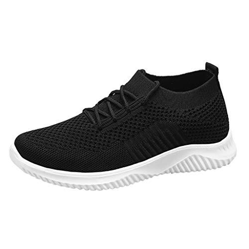 Deloito Damen Freizeit Wanderschuhe Flache Socken Sneaker Turnschuhe Mesh Hausschuhe Schlüpfen Faule Wanderschuhe Schnür Sport Schuhe (Schwarz,37 EU)