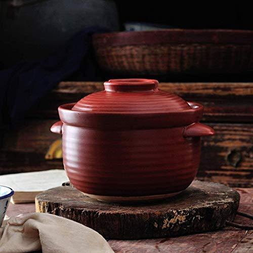 SSB - Pentola calda in ceramica giapponese Donabe, resistente al calore con coperchio, piccola pentola in terracotta vintage per riso zuppa tagliatelle rosso (colore : rosso, misura: 3 l)