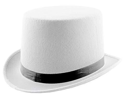 Funny Fashion Zylinder 60cm - Weiß - Schöner Hut zum 20er Jahre Kostüm für Party Show Hochzeit Junggesellenabschied Karneval