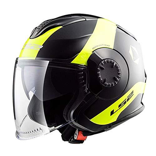 MYSdd Cabrio Motorradhelm Roller Jet Helm Motorradhelm Pull Down Schatten Gute Belüftung -Gelb X XL