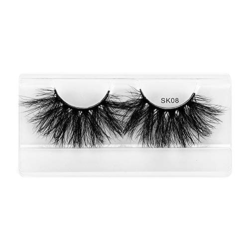 Beauty Criss-cross Thick Long Wispies Fluffies Eye Lash Extension 25mm Lashes False Eyelashes 3D Faux Mink Hair(SK08)