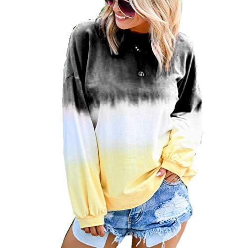 Suéter de otoño e Invierno para Mujer, Camiseta de Manga Larga Estampada con Degradado de arcoíris