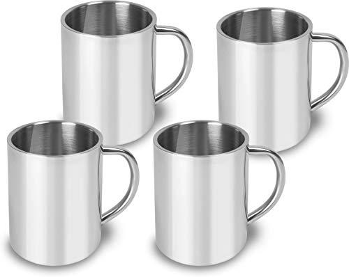 normani 1-4 Edelstahl Outdoor Tassen | Kaffee Tasse 250 ml | doppelwandig isoliert Farbe 4 Stück
