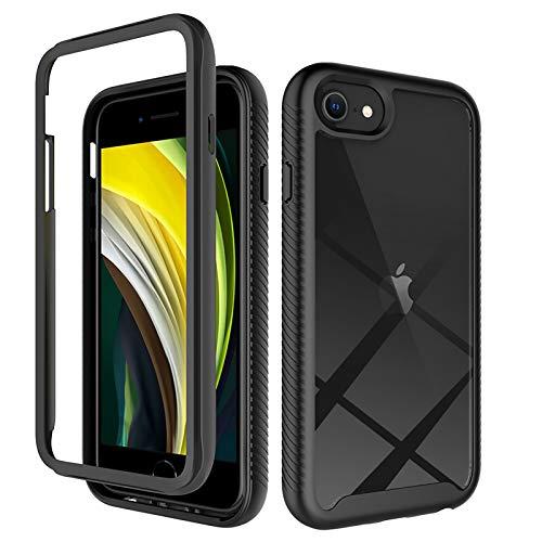 WRNM Para Iphone 7 8 Iphone Se 2020 Clear Cuerpo Completo Estuche De Teléfono Protector De Protección Resistente Antideslizante A Prueba De Golpes Tpu Tpu Cu(Color:Respaldo transparente + marco negro)