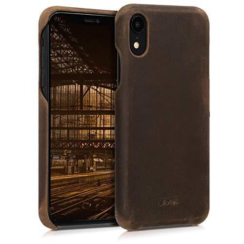 kalibri Schutzhülle kompatibel mit Apple iPhone XR - Hülle Leder - Hardcover Handy Cover Hülle Braun