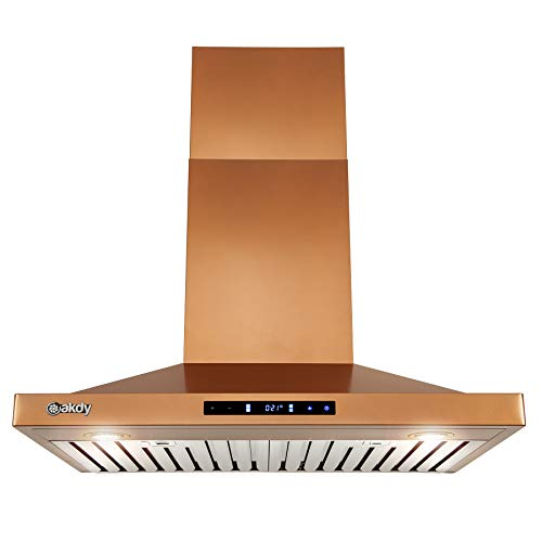 AKDY 30 in. 343 CFM Convertible Wall Mount Copper Stainless Steel Kitchen Range Hood with Touch Panel