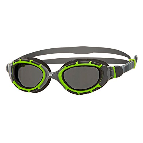 Zoggs Predator Flex Titanium Reactor Swimming Goggles, Unisex, Green / Black / Smoke, One Size