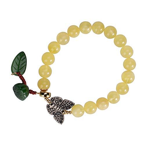 THT S925 vintage armband zilver voor vrouwen mannen Jasper barnsteen kralen vlinder hanger lotus eenvoudig en eenvoudig Chinese stijl, prachtig cadeau voor persoonlijkheid