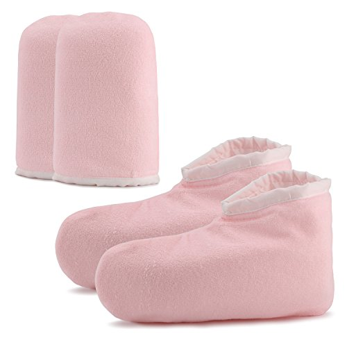 Paraffin Wax Bath Terry Cloth Gloves Booties, Wax Care Insulated Mittens, Heat Therapy Spa Treatment Tanning Mitt, Great for Paraffin Wax Machine- Pink