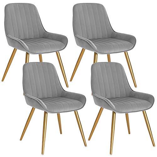 Lestarain 4 Stücke Esszimmerstuhl, Retro Küchenstuhl Wohnzimmerstuhl Sitzfläche Aus Samt Retrostuhl mit Metallbeine Besucherstuhl Stuhl für Esszimmer Wohnzimmer Küche Hellgrau