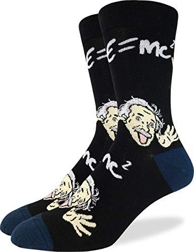Good Luck Sock Herren Wacky Albert Einstein Crew Socken, Schwarz, Schuhgröße 40-47