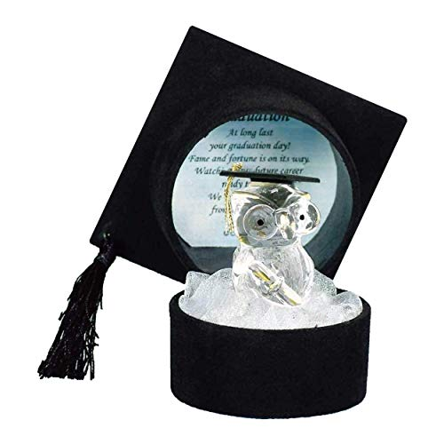GRADUATION GIFTS University College Degree Pass Present Crystal Owl in Black Graduation Hat / Mortarboard Cap Gift